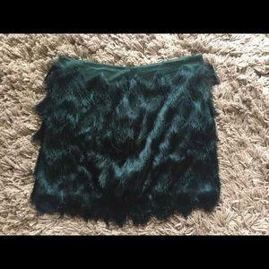 H&M Green Fringe Skirt